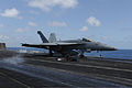 A U.S. Navy F-A-18E Super Hornet aircraft assigned to Strike Fighter Squadron (VFA) 143 launches from the aircraft carrier USS Dwight D. Eisenhower (CVN 69) in the Arabian Sea June 1, 2013 130601-N-MD211-048.jpg