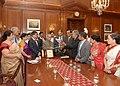 A delegation from Bangladesh Hindu Buddhist Christian Unity Council (BHBCUC), USA led by Shri Sitangshu Guha meeting the President, Shri Pranab Mukherjee, at Rashtrapati Bhavan, in New Delhi on April 21, 2014.jpg
