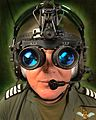 A member of aircrew being fitted with goggles at RAF Shawbury MOD 45147057.jpg