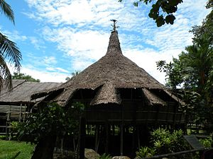 Bidayuh - A traditional Bidayuh baruk roundhouse in Sarawak, Malaysia. It is a place for community gatherings.