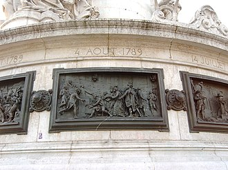 Abolition of feudalism in France - The signing of the August Decrees — events of the Revolution in bas relief, Place de la République