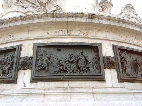 The signing of the August Decrees -- events of the Revolution in bas relief, Place de la Republique Abolition of feudalism, 4 August 1789 (Monument to the Republic) 2010-03-23 01.jpg