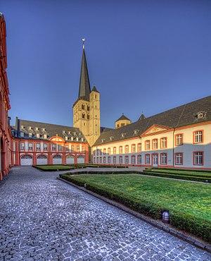 Brauweiler Abbey - Inner yard with St. Nicholas' church, formerly the church of Brauweiler Abbey, in the background