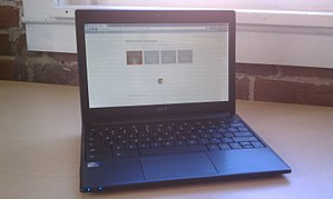 English: An Acer Chromebook showing the introd...