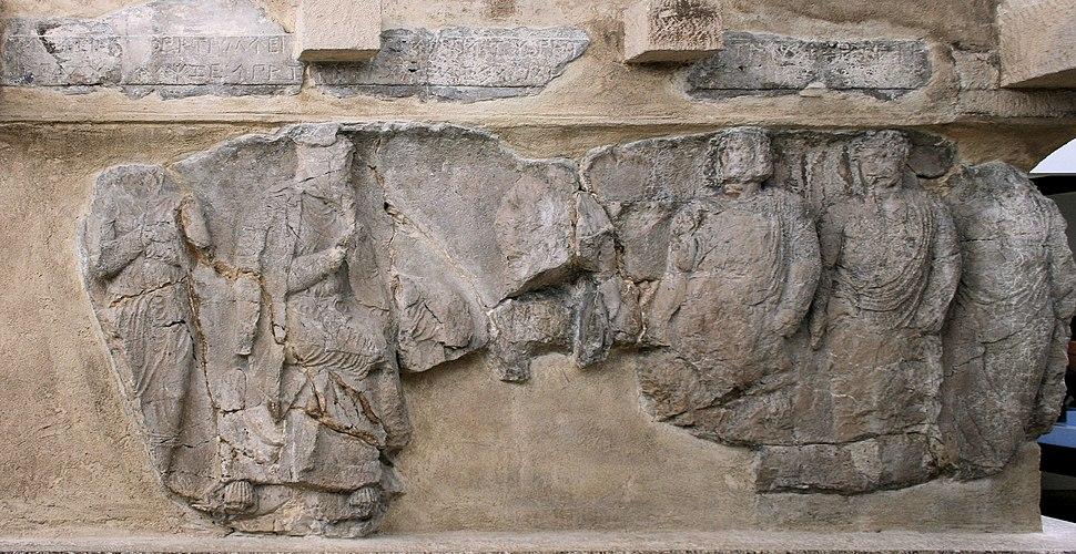 Achaemenid Satrap Autophradates with visitors Payava tomb