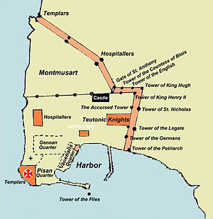 Siege of Acre (1291) - Map of Acre in 1291