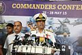 Admiral RK Dhowan interacting with media after concluding Naval Commanders' Conference 2015.JPG