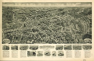 Farmingdale, New York - Panoramic map from 1925 with list of landmarks and omages of several inset