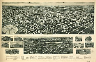 Valley Stream, New York - Panoramic map of Valley Stream with brief description, list of landmarks, and inset images (1924)