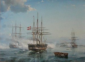 Battle of Jasmund (1864) - Danish and Prussian warships battling off Swinemünde, by Carl Frederik Sørensen