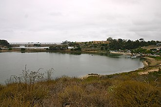 Agua Hedionda Lagoon - Middle, looking across the I-5, the Coaster line. and Historic Route 101.