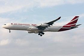 Air Mauritius Airbus A340-313 3B-NBI (22359039155).jpg