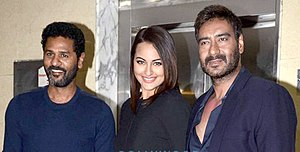 Action Jackson (2014 film) - Director Prabhu Deva and actors Sonakshi Sinha and Ajay Devgan