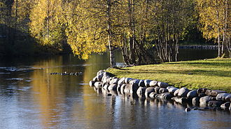 Akerselva - A regulated shore at the bend of Akerselva in Kjelsås