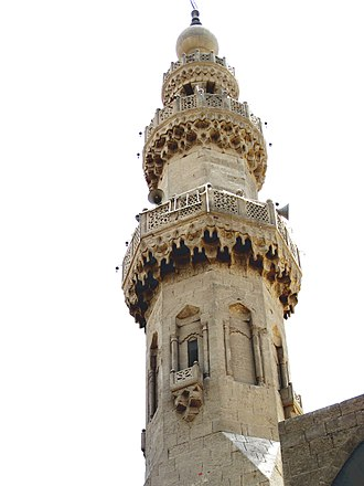 Mamluk architecture - Minaret of Mosque of Amir al-Maridani in Cairo, Egypt.
