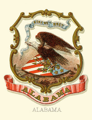 Seal of Alabama - Historical coat of arms (illustrated, 1876)