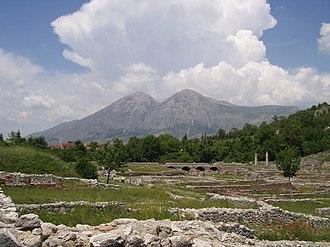Alba Fucens - Alba Fucens in front of Monte Velino. June 2003.