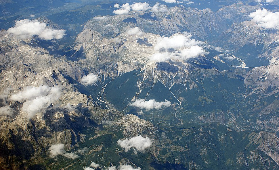 Albanian Alps from Air
