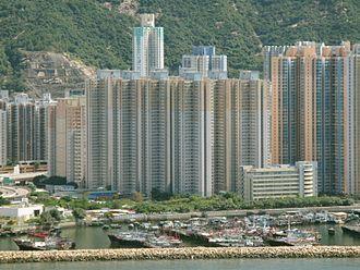 Public housing estates in Shau Kei Wan - Aldrich Garden, with Shau Kei Wan Typhoon Shelter in the foreground.