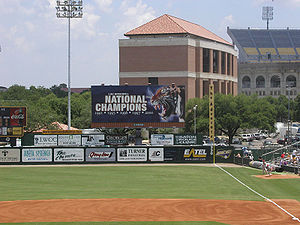 LSU Tigers baseball - The Intimidator behind the right field fence in Alex Box Stadium