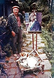 Alfred Hallett with painting of Tibetan friend c. 1980.jpg