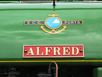 """Bagnall 0-4-0ST """"Alfred"""" and """"Judy"""" - Image: Alfred nameplate"""