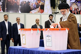 Supreme Leader of Iran - Ali Khamenei voting in the 2017 Presidential election