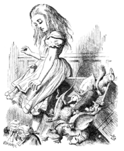 An illustration by John Tenniel of Alice rapidly growing.