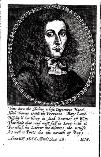 George Alsop - Portrait of George Alsop from the 1666 first edition of A Character of the Province of Maryland
