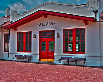 National Register of Historic Places listings in Brazoria County, Texas - Image: Alvin RR Depot (5822129305)