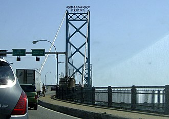 Ambassador Bridge - Crossing the bridge into Canada