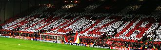 "Heysel Stadium disaster - The Kop creates a mosaic saying ""Amicizia"" (""Friendship"")"