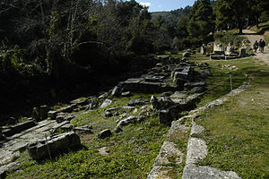 Amphiareion of Oropos - View SW across altar, theatral area, sacred spring, and temple