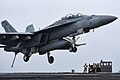An F A-18F Super Hornet prepares to land on the flight deck. (39888826660).jpg
