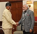 Andhra Pradesh CM N. Chandrababu Naidu meets PM Modi on 15 Jan 2015.jpg