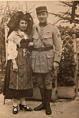 Alsace-Lorraine - An Alsatian in traditional dress and a French officer, c. 1919