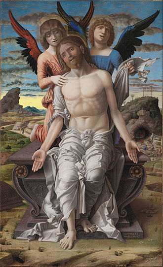 Andrea Mantegna - Christ as the Suffering Redeemer. Christ resurrecting, depicted according to Luke 24:1-2, praising the Lord with a hymn.