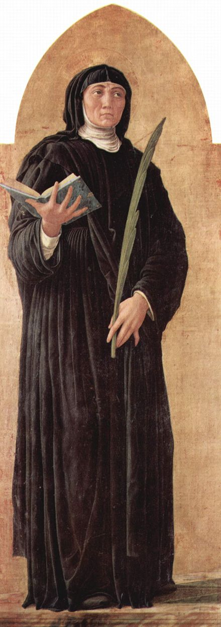 St. Scholastica, sister of St. Benedict and foundress of the Benedictine nuns Andrea Mantegna 019.jpg