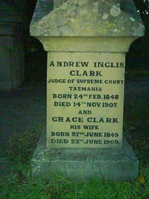 Andrew Inglis Clark - Image: Andrew Inglis Clark gravestone