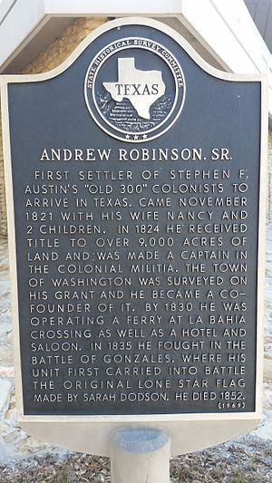 Old Three Hundred - Texas Historical Marker for Andrew Robinson Sr.
