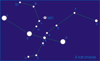 Eta Andromedae - Diagram of Andromeda constellation