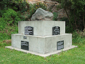 Andersons Bay - Rongo (memorial stone) to Taranaki Māori transported to Dunedin during the Land Wars.