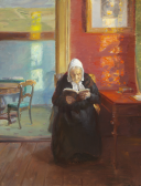 Anna Ancher, Interior from the red room with the artist's mother Ane Brøndum reading, 1910, Skagens Museum.png