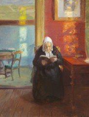 Interior from the red room with the artist's mother Ane Brøndum reading