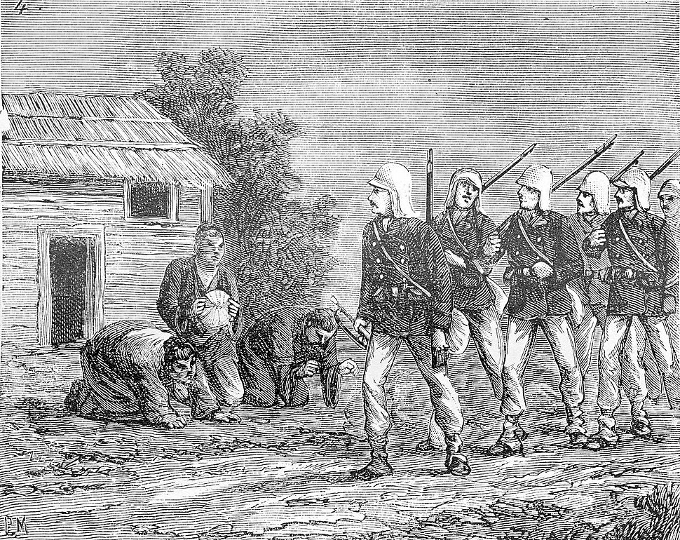 Annamese kowtowing to French soldiers