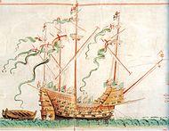 Den första illustrationen i den första rullen av Henry Grace à Dieu, det största skeppet i den engelska flottan under Henrik VIII.
