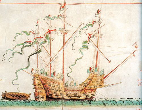 In 1545 Lord Admiral John Dudley, Viscount Lisle welcomed King Henry VIII on board the Henri Grace a Dieu, popularly called Great Harry. AnthonyRoll-1 Great Harry.jpg