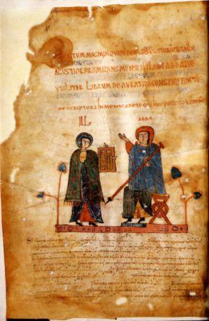 Antifonario de León (f. 1v). En la miniatura se observa al copista Totmundo entregando el libro al abad Ikila. En la parte inferor pueden verse los neumas en notación visigótica