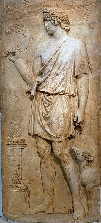 Antinous portrayed as Dionysus in a relief from the area between Anzio et Lanuvium Antinous Dionysos Terme.jpg