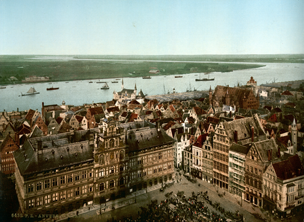 Antwerp and the river Scheldt, photochrom ca. 1890-1900 Antwerp and the river Scheldt, photochrom.png